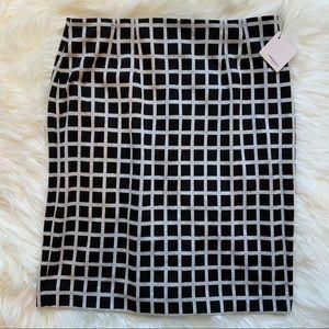 NWT Halogen Pencil Skirt, Black/Cream, size 8